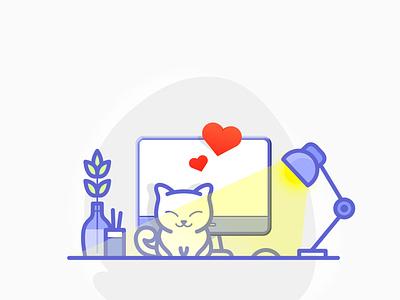 Cat on the desktop blue colour vector drawing artist illustration digitalart artwork adobe photoshop adobe illustrator