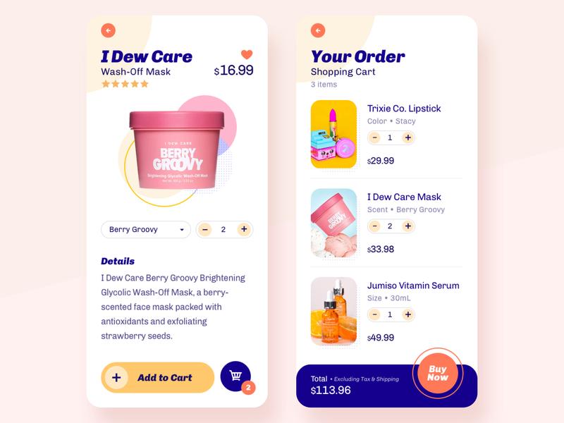 Beauty/Makeup Shopping App ui challenge makeup beauty color palette colorful checkout shopping ecommerce mobile ui