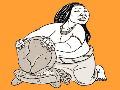 Moliendo costarica indigenous character illustration
