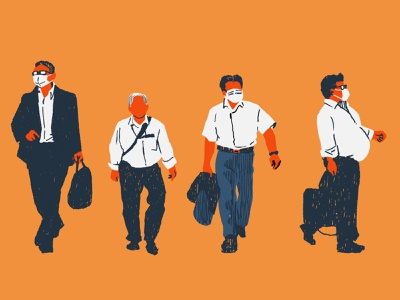 Businessmen illustration covid19 japan businessman editorial illustration