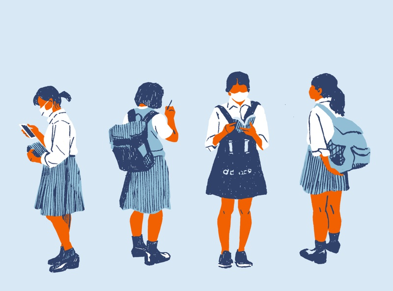 Schoolgirls japan covid19 schoolgirl illustration editorial illustration