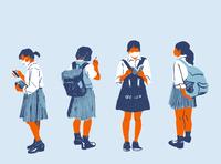 Schoolgirls japan covid19 schoolgirl illustration editorial illustration