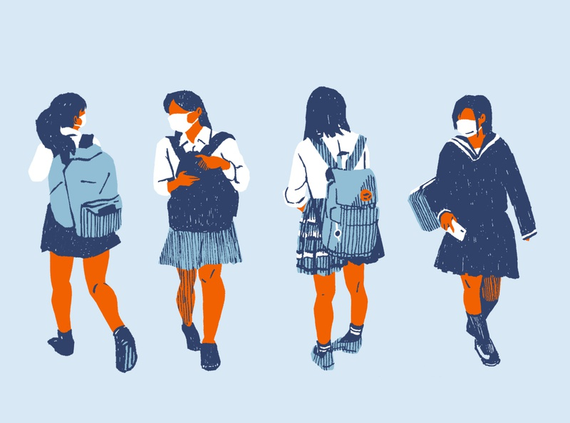 Schoolgirls schoolgirl japan covid19 illustration editorial illustration