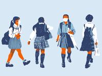 Schoolgirls schoolgirl japan covid19 illustration editorial illustration