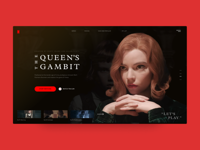 """Concept of Netflix page for """"The Queens Gambit"""" series series concept web ux ui design"""