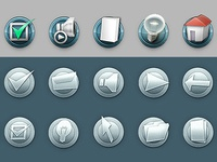 Icons, web buttons.