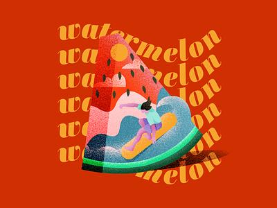 'tis the watermelon season illustrator beach surfing summer digitalart type vector teeshirt freelanceillustrator illustration watermelonsugar watermelon