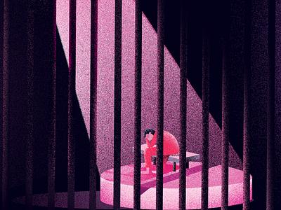 Prisoned - Drugs illustrator lock noise effect bars digitalart editorial illustraion drugs prisoner lockup prison lockedup euroman illustration