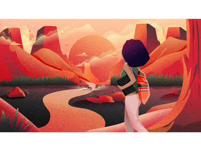 MNFSTO scene destination journey mountains car sunset black girl afro illustrator digitalart design illustration