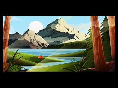 Last few sunny days until 2021! landing page canada bush trees mountains tent landscape photoshop ui vector illustrator design illustration