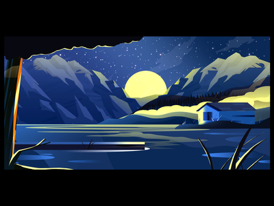 Winds of change art ui bush moon night photoshop vector illustrator digitalart design illustration