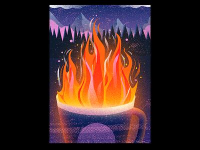 'tis the season fire cozy cozy mug canada trees campfire mountains cocoa coffee illustration