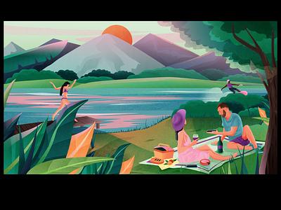 Post lockdown plans. girl illustration couple girls picnic basket mountain sun trees picnic swimswuit girl digitalart illustrator design illustration
