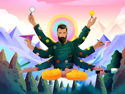 Creator. lotus position calm yogi yoga trees mountains hills vector digitalart illustrator design illustration illustra