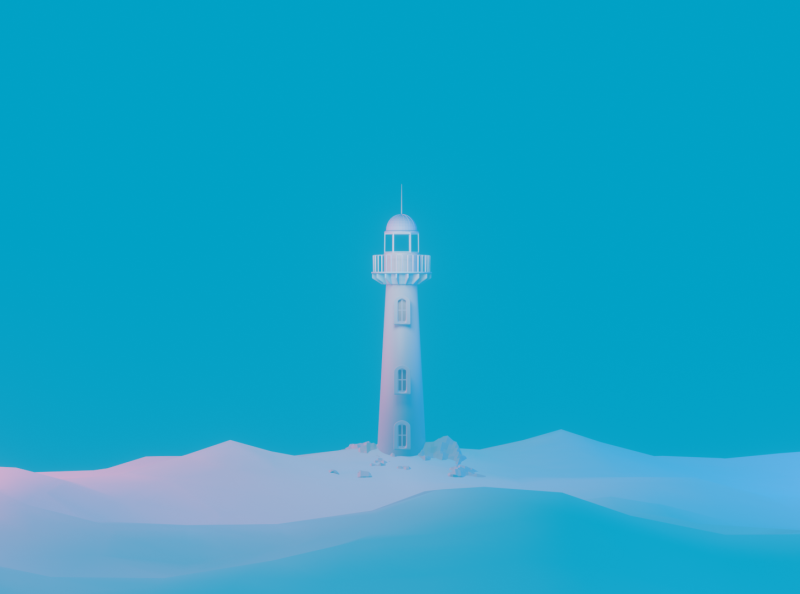 light blue alone eevee peaceful clay pure clean cyan blue tower blender 3d art 3d