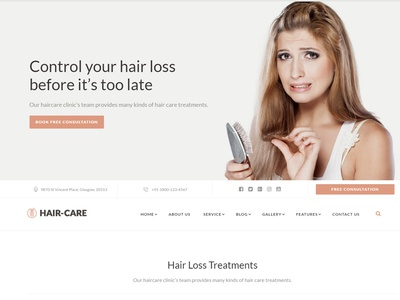 Hair Care Clinic Website Template by jitu - Dribbble