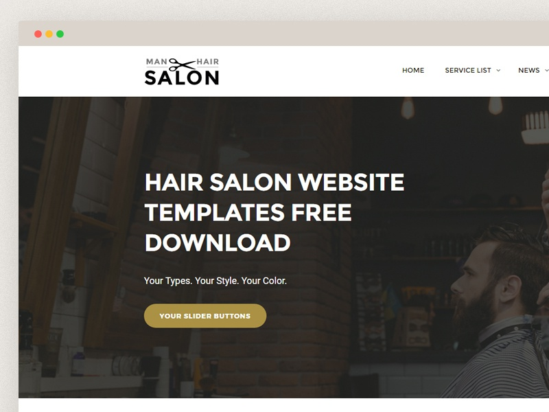 Hair Salon Website Templates Free Download Template Creative Clean Men