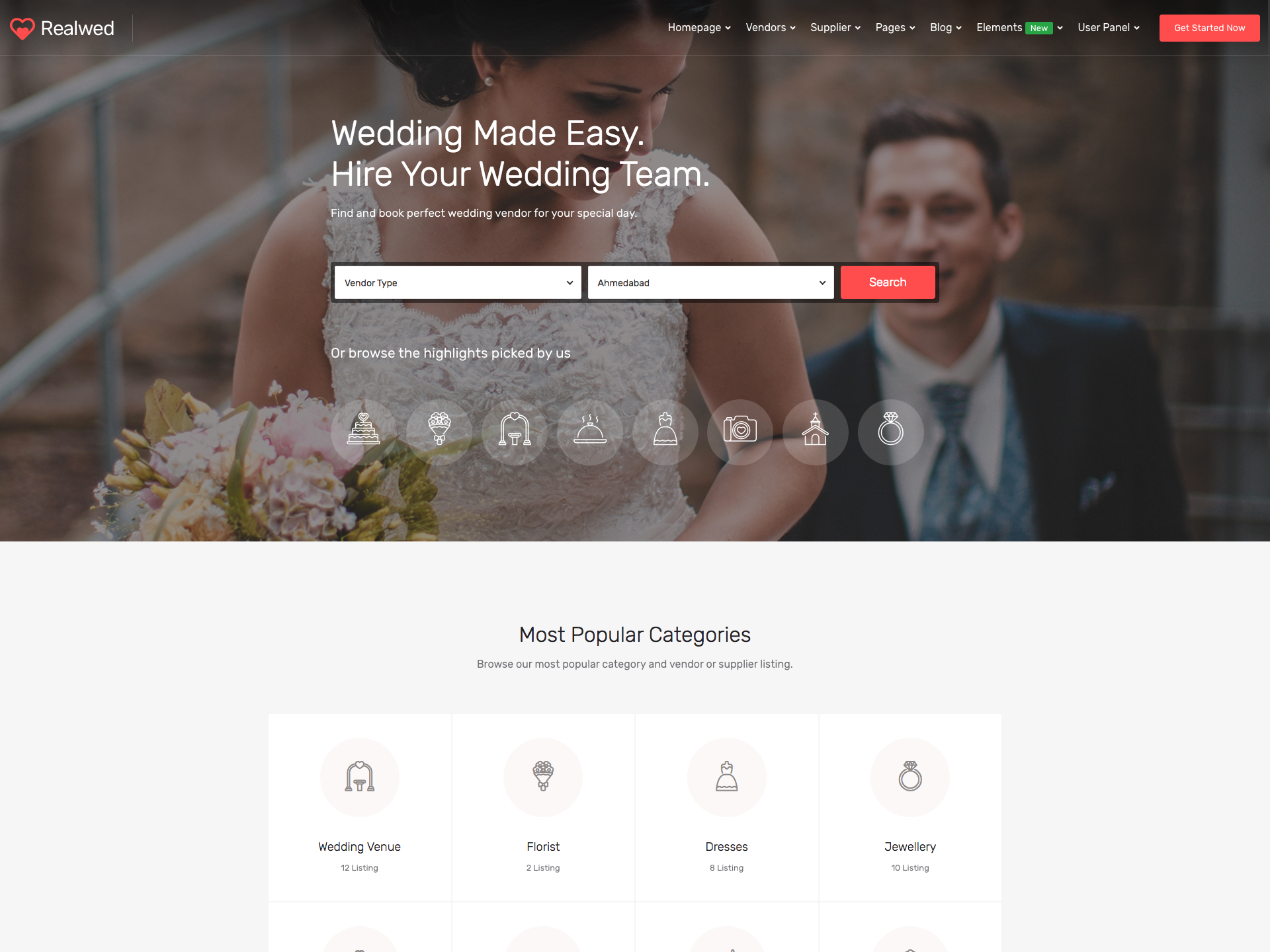 Dribbble - realwed-wedding-supplier-directory-listing-html-template