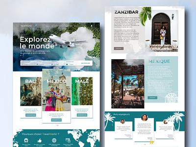 WebDesign Travel Agency illustration website webdesign web ux ui phostoshop maquette design art design
