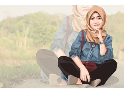 Vector Art hijab hijab vector girl face art illustration ideas branding creative vector logo icon design