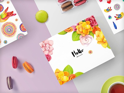 Life Is Sweet By Sonice watercolor clip art floral feather ethnic nature card patterns branding macarons food packaging