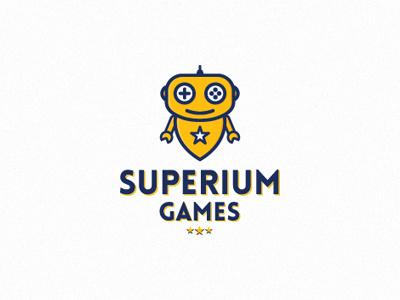 Superium Games game developer super robot star button joystick logo branding levogrin