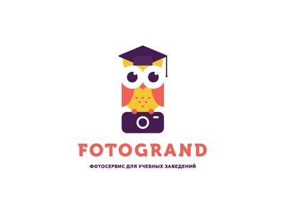 Fotogrand university fotogrand funny school study smart camera owl photo logo branding levogrin
