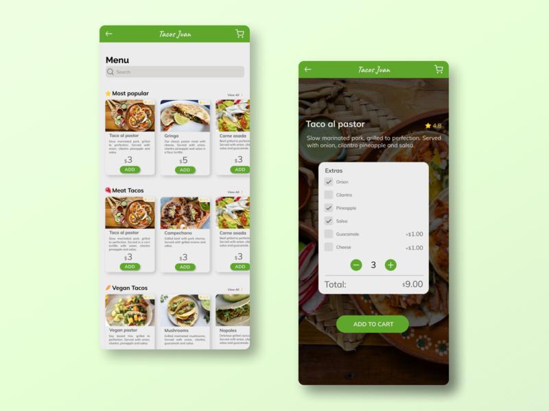 Daily UI 043/Food menu taco food app menu figma ux ui design dailyui daily 100 challenge