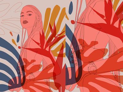 Jungle girl graphic design art illustrator web vector minimal illustration flat design