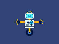 Happy Robot faux 3d robot loop animated vector character design animation illustration
