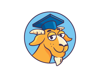 The Goat college learning goat vector character design branding graphic design illustration