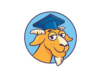 The Goat college learning goat vector character design branding graphic design illustration