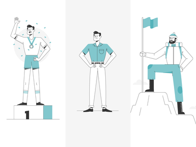 Split Personality mountain climbing mountain business podium vintage vector character design branding illustration
