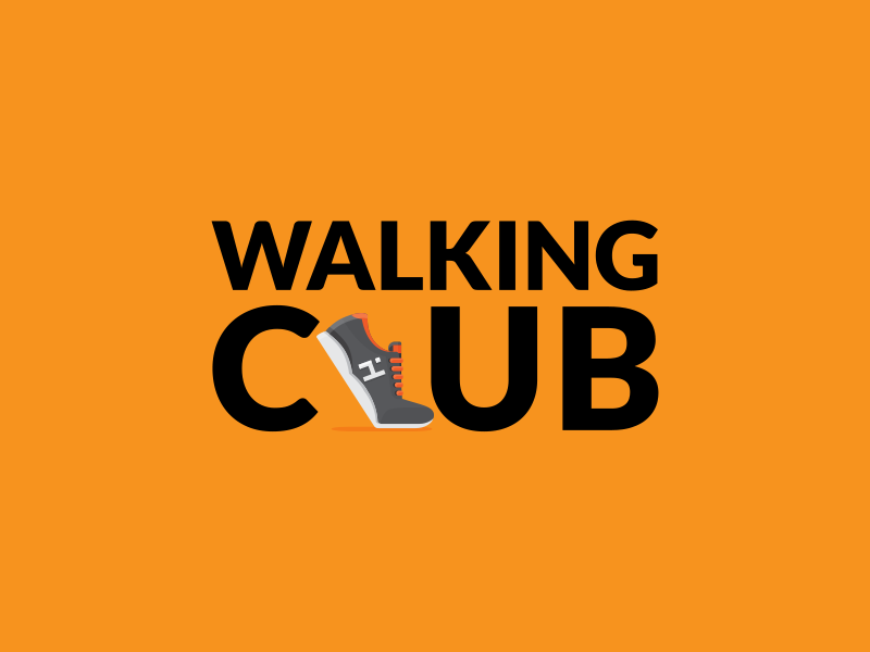 Walking Club illustration branding logo fitness icon shoe run walk