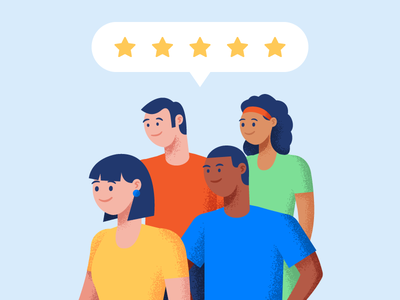 Happy Customers! diversity review business customers illustration