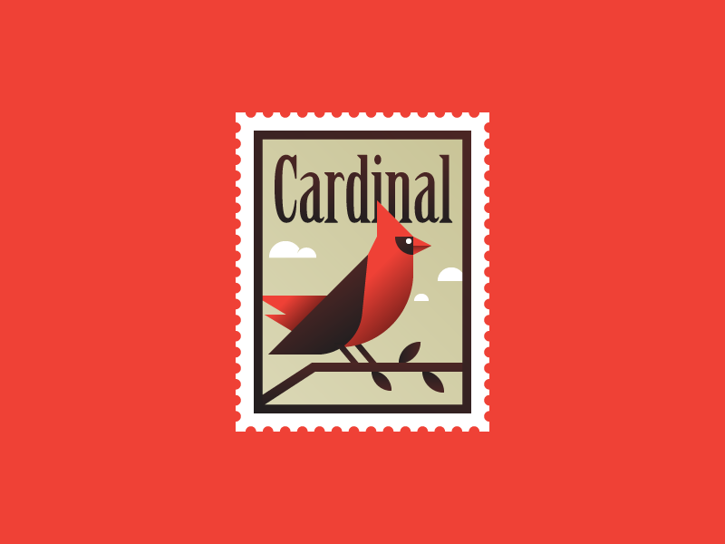 Mario Drawing Birds - 01 - Cardinal stamp stamps mario drawing birds gradients nature illustration cardinal bird