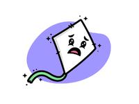 Kite sad mascot