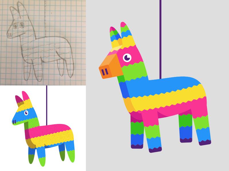 Piñata Process fiesta holiday icon illustration hispanic latin mexico pinata