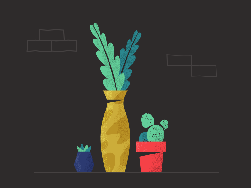 Mis amigas las plantas! home nature cactus plants illustration