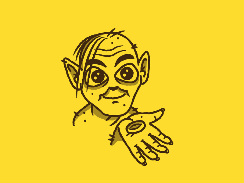Inktober - Day 09 - Precious lotr lord of the rings character design gollum design graphic design illustration