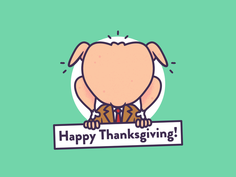 🦃 Happy Thanksgiving Dribbble Family 🦃 vector graphic design design thanksgiving mr bean illustration holiday turkey
