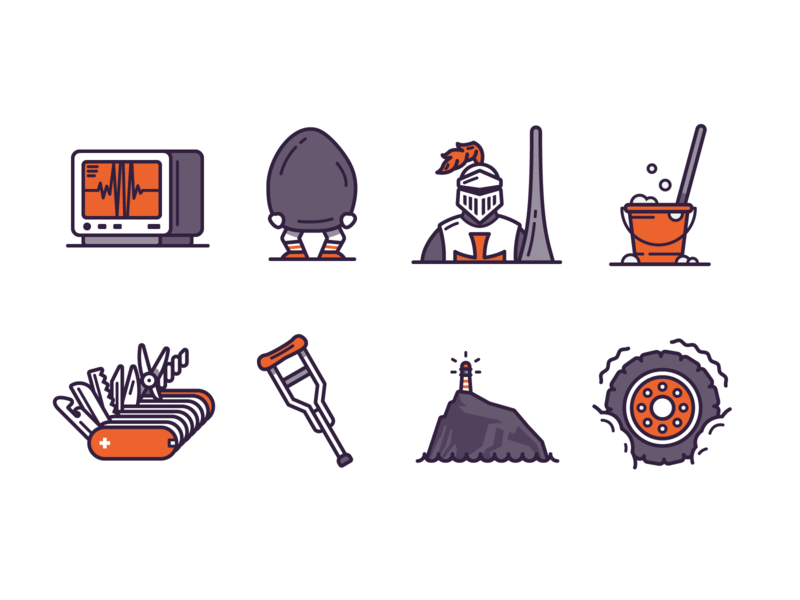 Little Tiny Small Illustrations Part One icons by alfredo health rock pocket knife knight icons vector design icon branding graphic design illustration