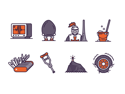 Little Tiny Small Illustrations Part One health rock pocket knife knight icons vector design icon branding graphic design illustration