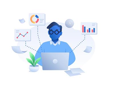 Man at Work business finances character design vector branding design graphic design illustration