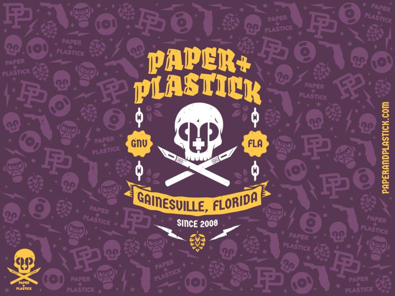Paper+Plastick Label packaging ska punk label pattern beer vector design icon branding graphic design illustration