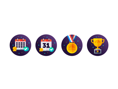 Badges Exploration 🔍 medal trophy calendar design vector icon graphic design illustration branding badges