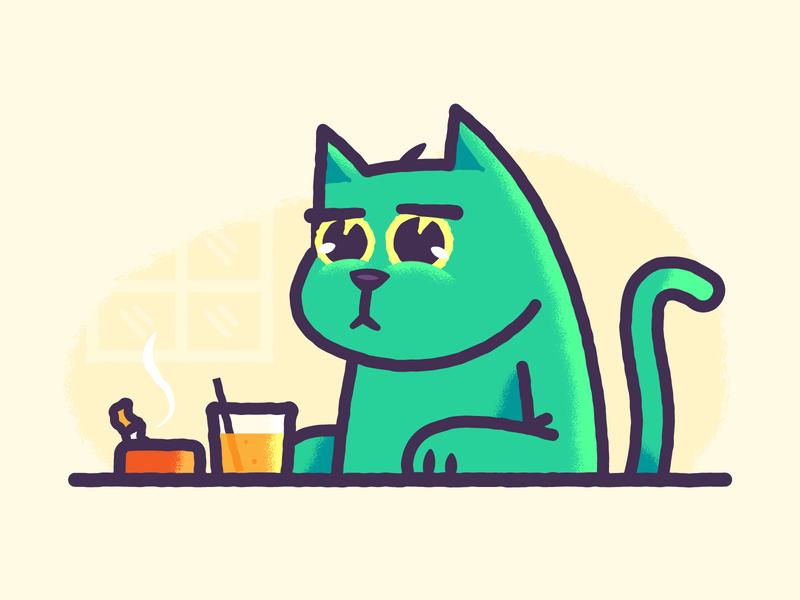Need Help? bar pub cat vector character design design branding graphic design illustration