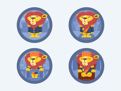 He is a great King badge design badge king lion vector character design logo icon branding graphic design illustration