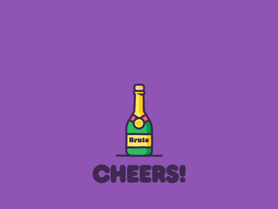 Cheers! animated celebration champagne animation icon branding graphic design illustration