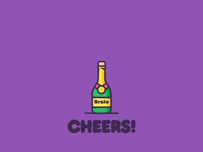 Cheers! animated celebration champagne animation icon branding graphic design illustration